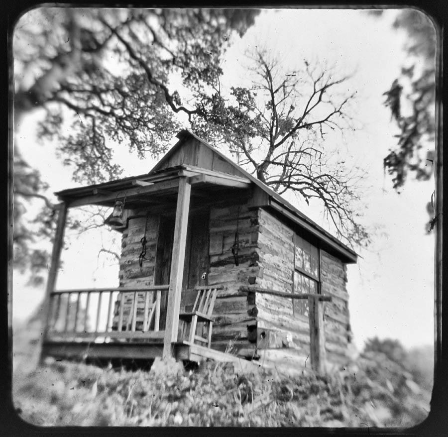 black and white, cabin