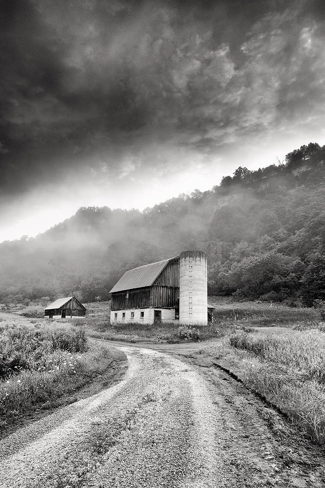 black and white, barn, road