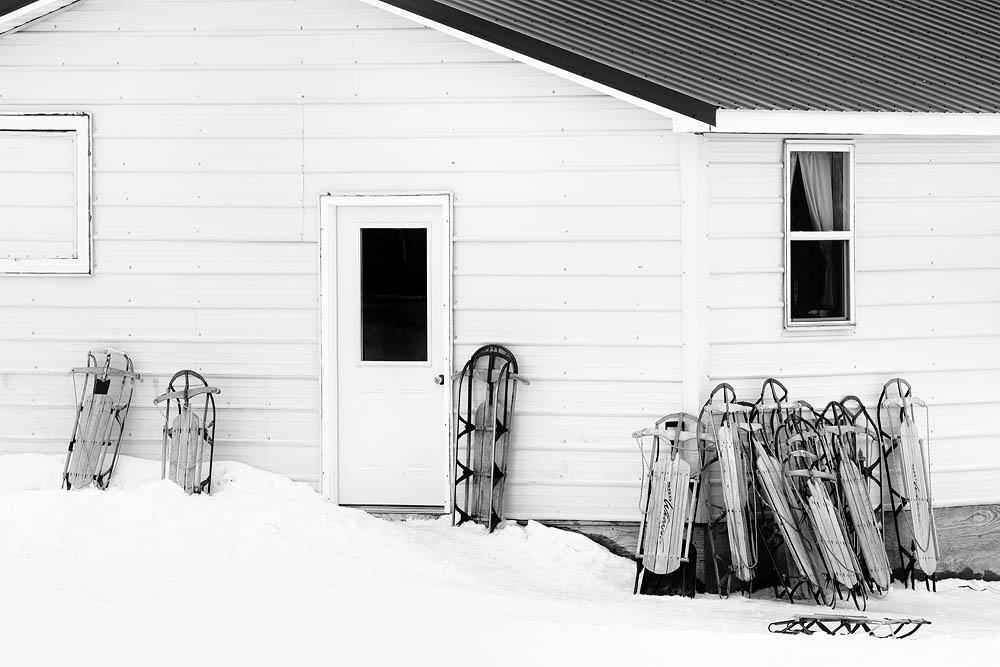 Amish, Snow, Sleds