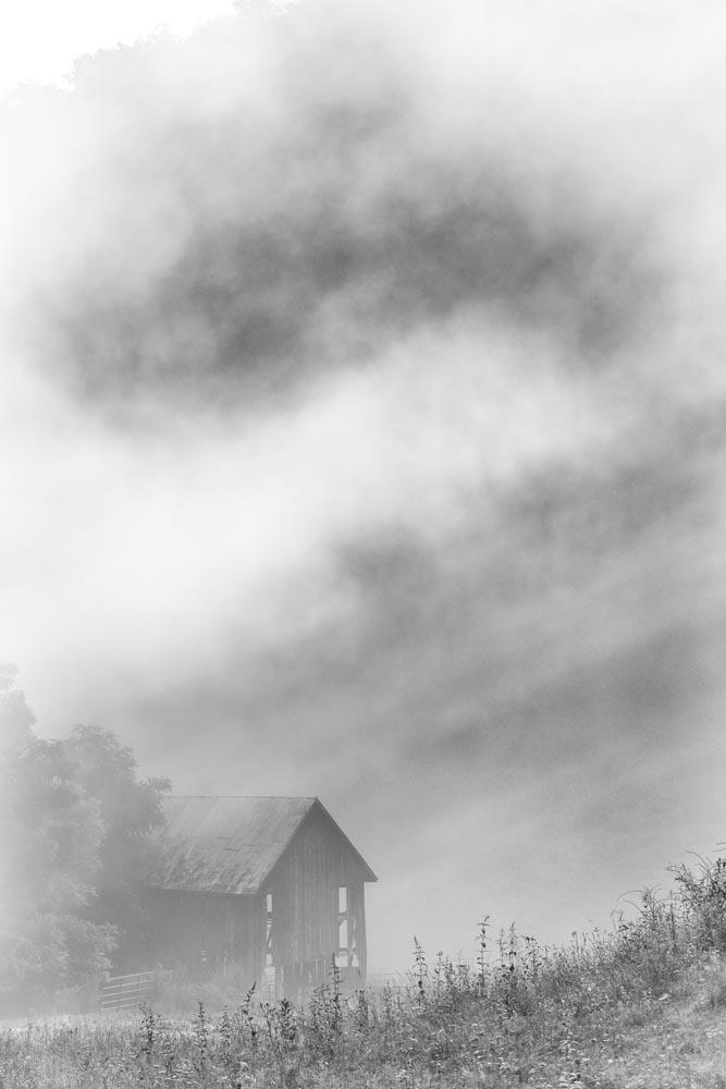Barn. Mist, Light Beams