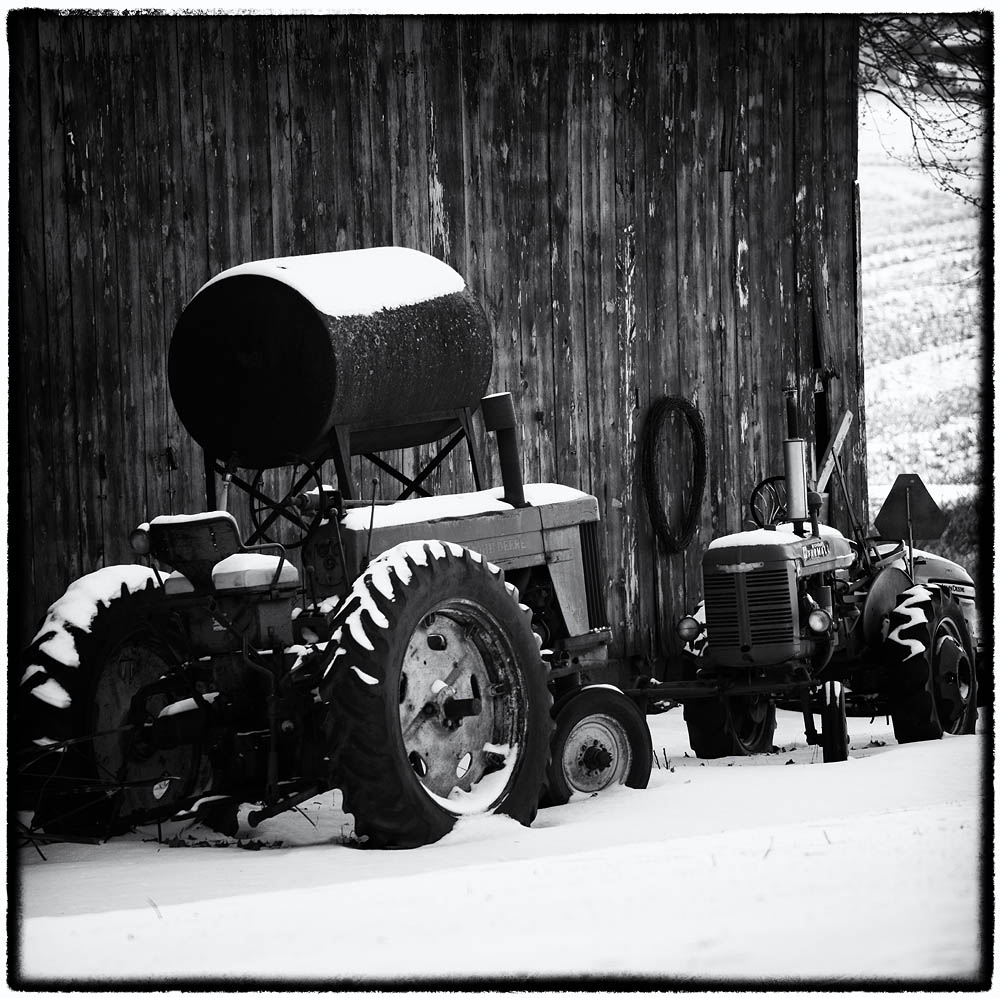 Tractors, Black and White, Tractors in Snow